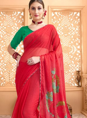 Printed Faux Chiffon Casual Saree in Red