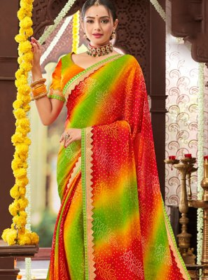 Printed Faux Chiffon Multi Colour Trendy Saree