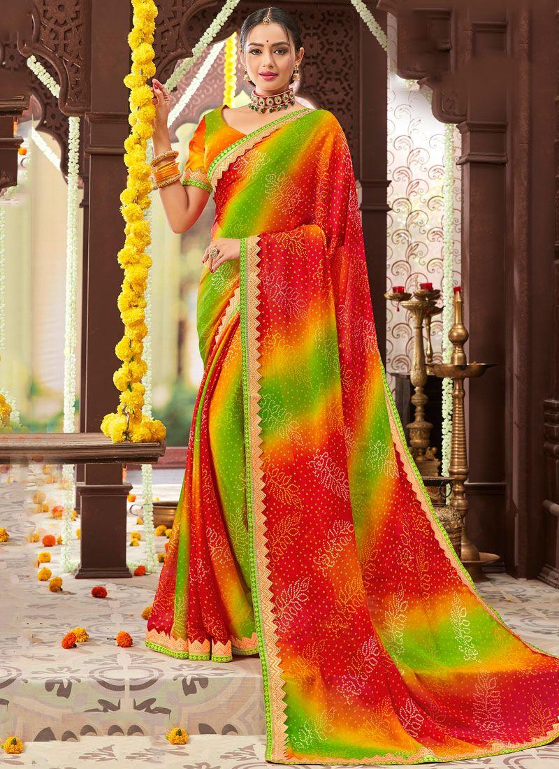Printed Faux Chiffon Multi Colour Trendy Saree