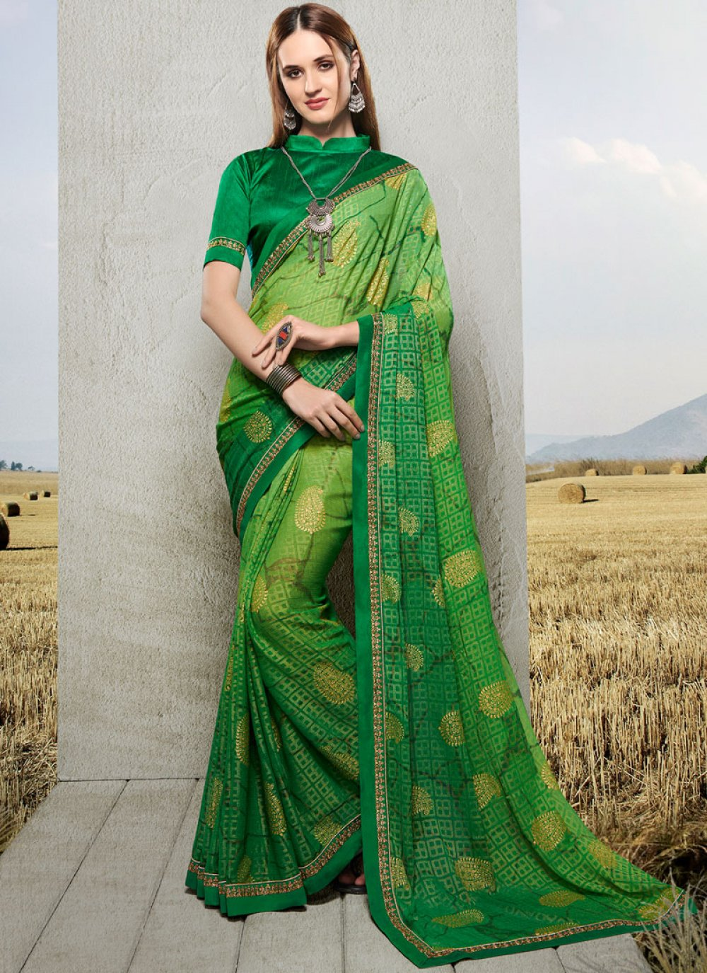 Printed Faux Chiffon Trendy Saree