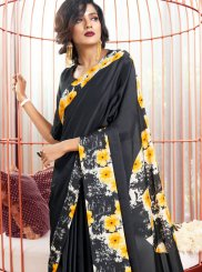 Printed Faux Crepe Black Casual Saree
