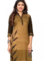 Printed Faux Crepe Casual Kurti in Brown