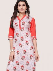 Printed Faux Crepe Casual Kurti in Off White