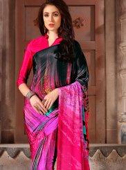 Printed Faux Crepe Multi Colour Casual Saree