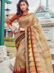Printed Faux Georgette Casual Saree in Beige