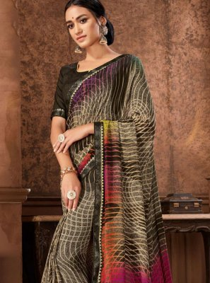 Printed Faux Georgette Casual Saree in Brown