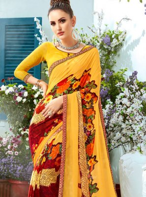 Printed Faux Georgette Casual Saree in Mustard