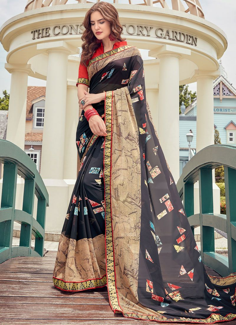 Printed Faux Georgette Casual Saree in Navy Blue