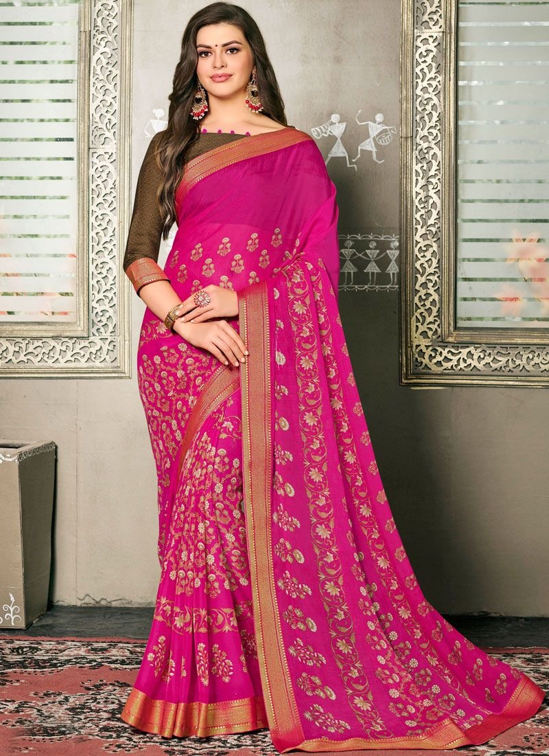 Printed Faux Georgette Classic Saree in Hot Pink