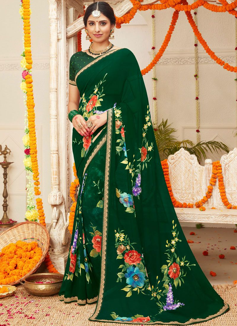 Printed Faux Georgette Green Classic Saree
