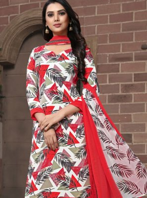Printed Faux Georgette Pakistani Suit in Multi Colour