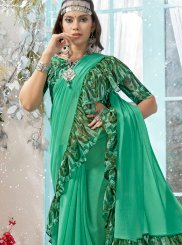 Printed Faux Georgette Sea Green Classic Designer Saree