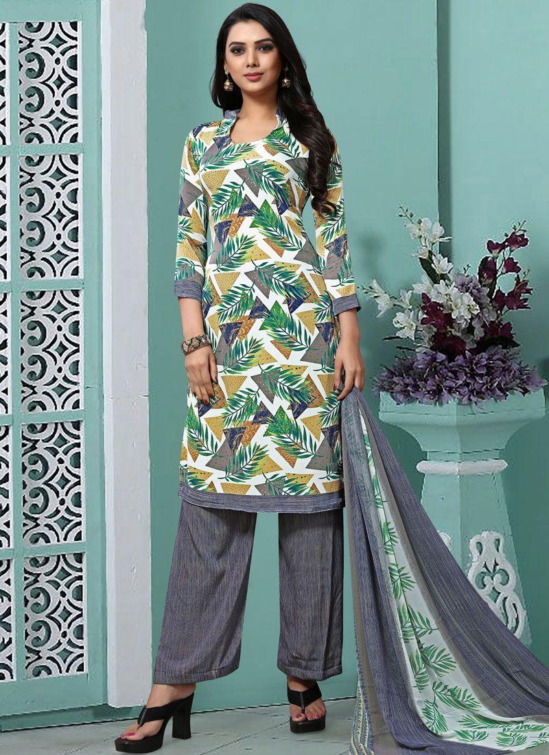 Printed Faux Georgette Trendy Pakistani Salwar Kameez