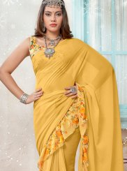 Printed Faux Georgette Yellow Traditional Saree