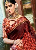 Printed Georgette Brown Designer Traditional Saree