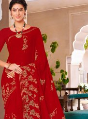 Printed Georgette Casual Saree in Maroon