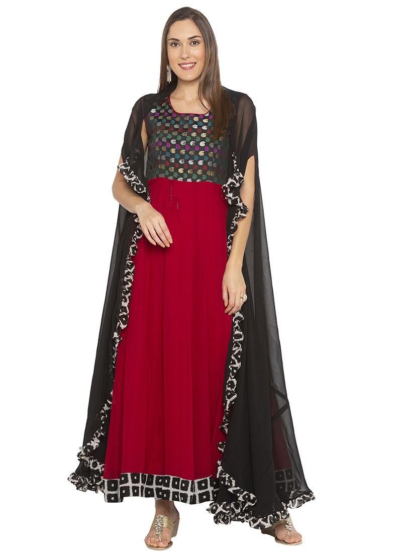 Printed Georgette Maroon Designer Salwar Kameez