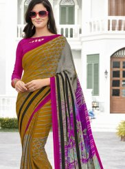 Printed Georgette Printed Saree in Multi Colour
