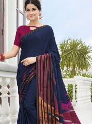 Printed Georgette Printed Saree in Navy Blue
