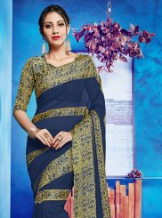 Printed Georgette Satin Casual Saree in Blue