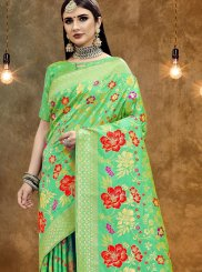Printed Green Art Silk Classic Designer Saree