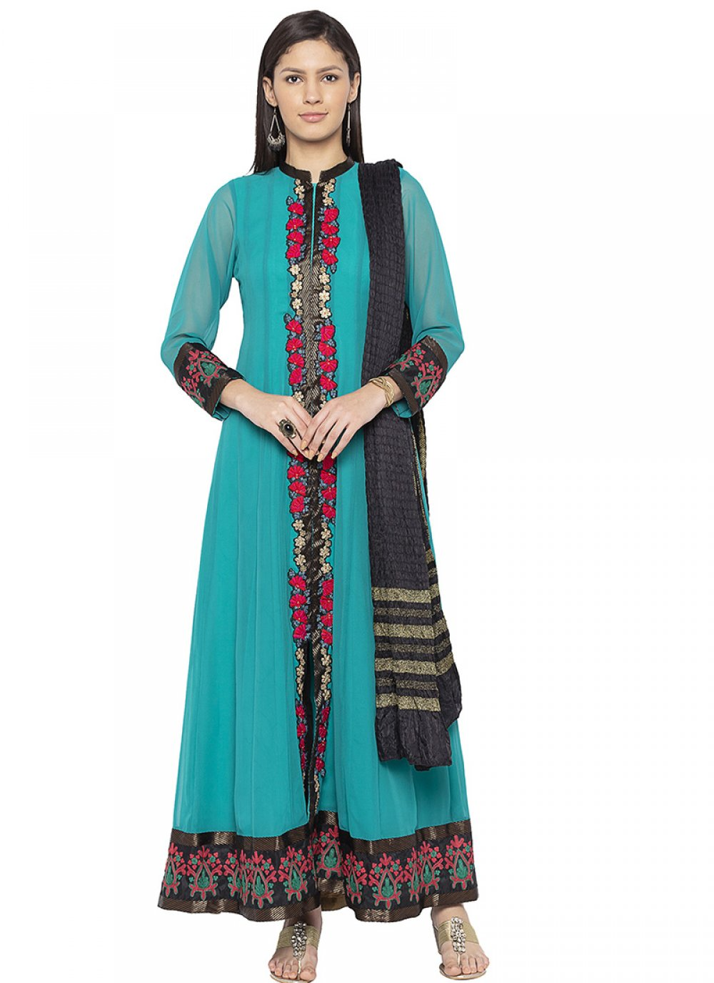Printed Teal Designer Patila Salwar Suit