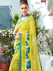 Printed Green Faux Georgette Casual Saree