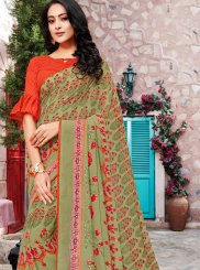 Printed Green Georgette Trendy Saree