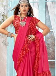 Printed Hot Pink Faux Georgette Classic Designer Saree