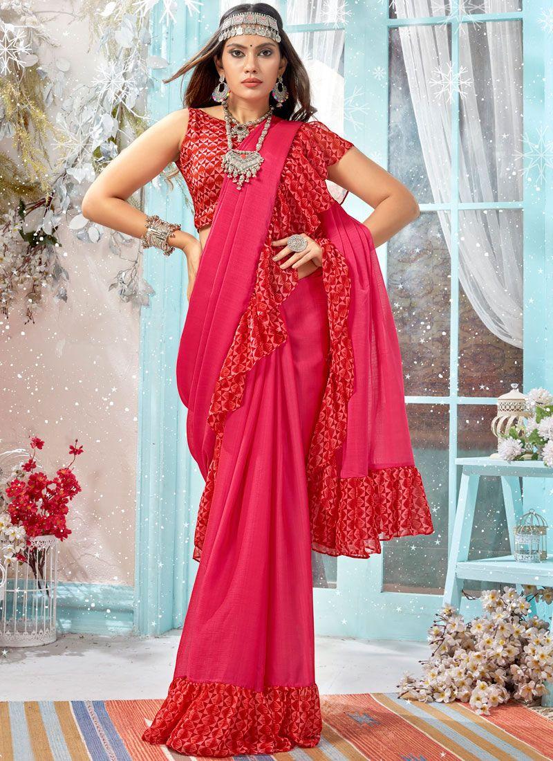 Printed Hot Pink Faux Georgette Classic Designer Saree