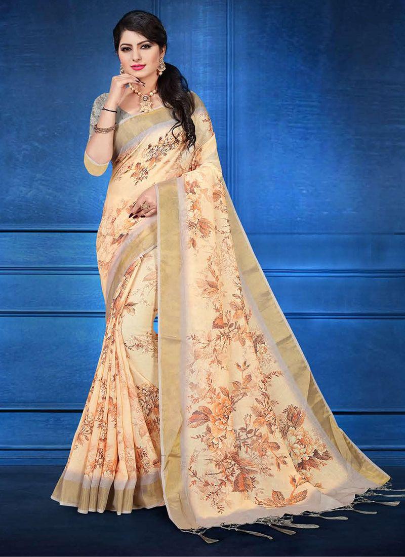 Printed Linen Trendy Saree