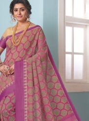 Printed Magenta Cotton Casual Saree