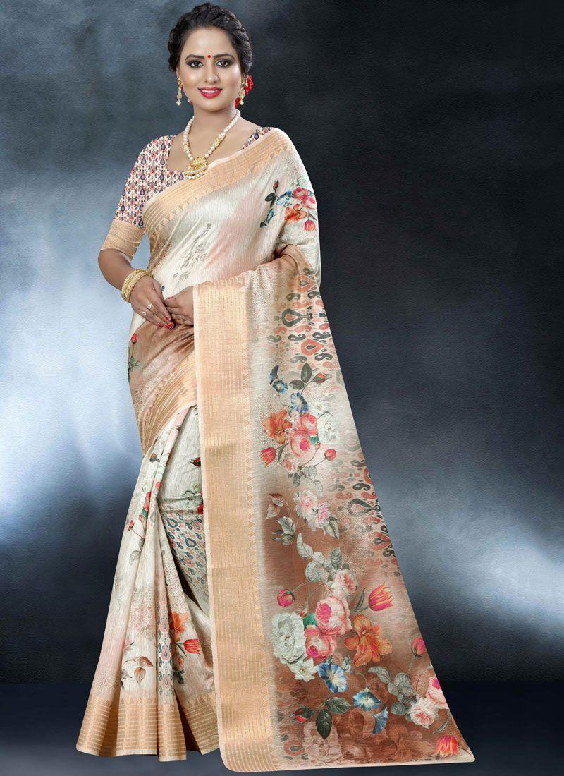 Printed Mehndi Classic Designer Saree