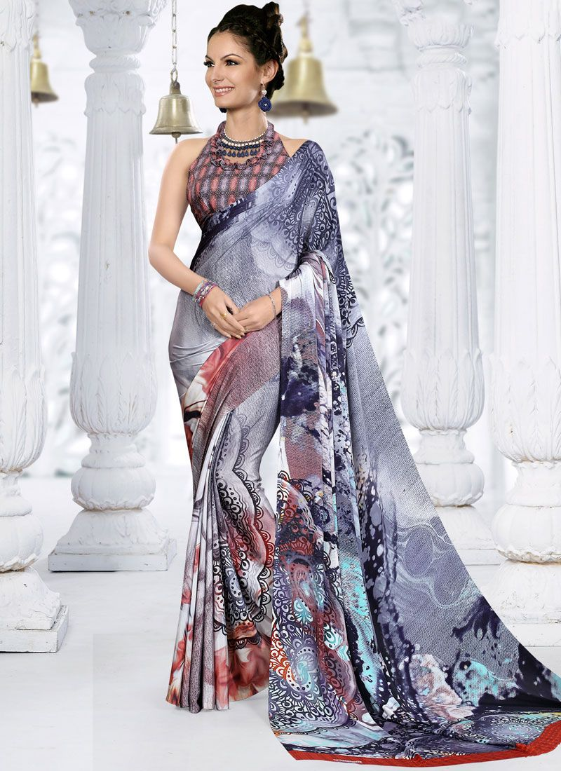 Printed Multi Colour Crepe Silk Trendy Saree