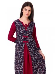 Printed Multi Colour Raw Silk Casual Kurti
