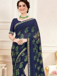 Printed Navy Blue Trendy Saree