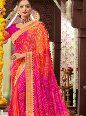 Printed Orange and Pink Faux Chiffon Traditional Saree