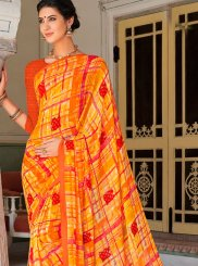 Printed Orange and Red Georgette Casual Saree