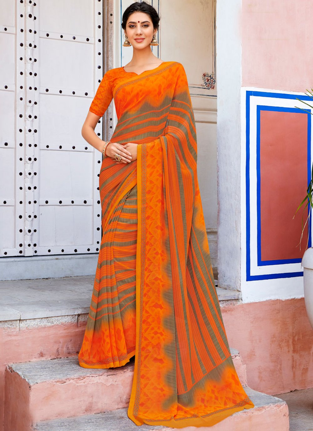 Printed Orange Georgette Casual Saree