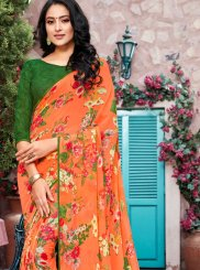 Printed Orange Georgette Trendy Saree