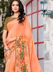 Printed Orange Trendy Saree