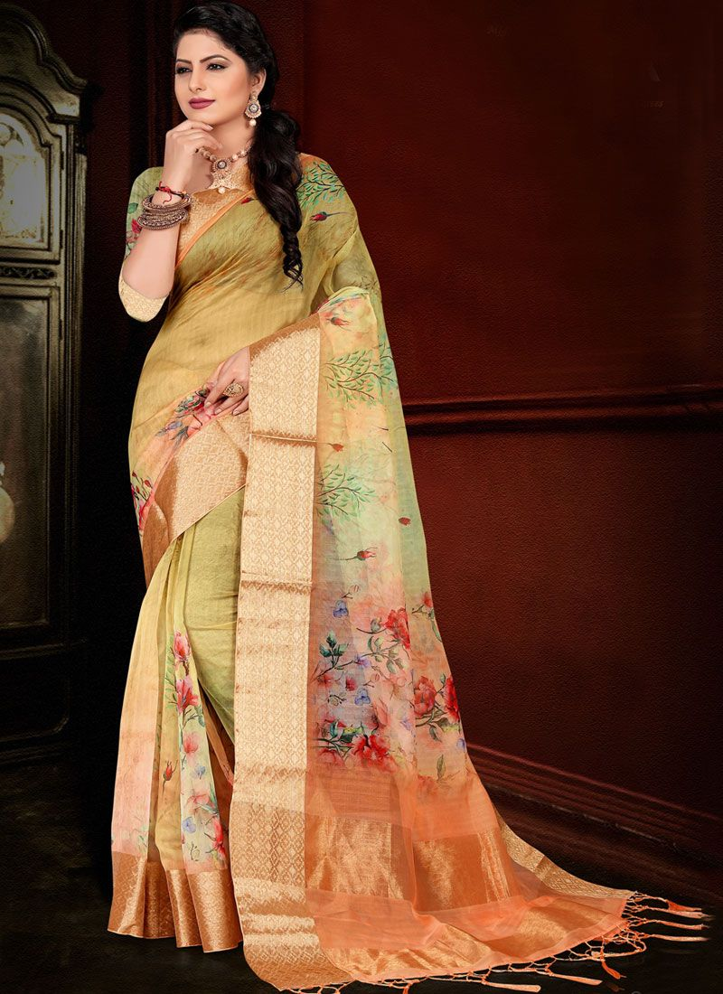 Printed Organza Traditional Saree in Green