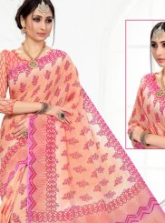 Printed Peach Printed Saree