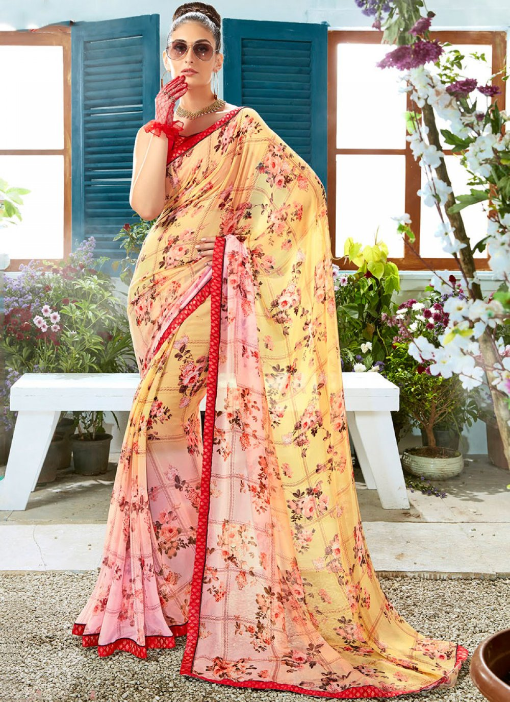 Printed Pink and Yellow Faux Georgette Casual Saree