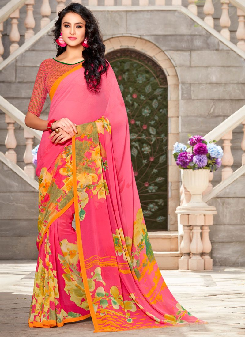 Printed Pink Georgette Trendy Saree