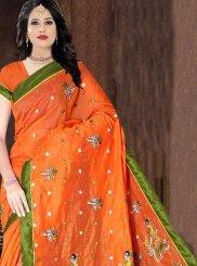 Printed Poly Cotton Orange Printed Saree