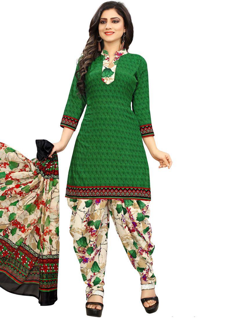 Printed Poly Cotton Punjabi Suit