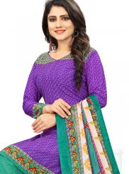 Printed Poly Cotton Purple Punjabi Suit