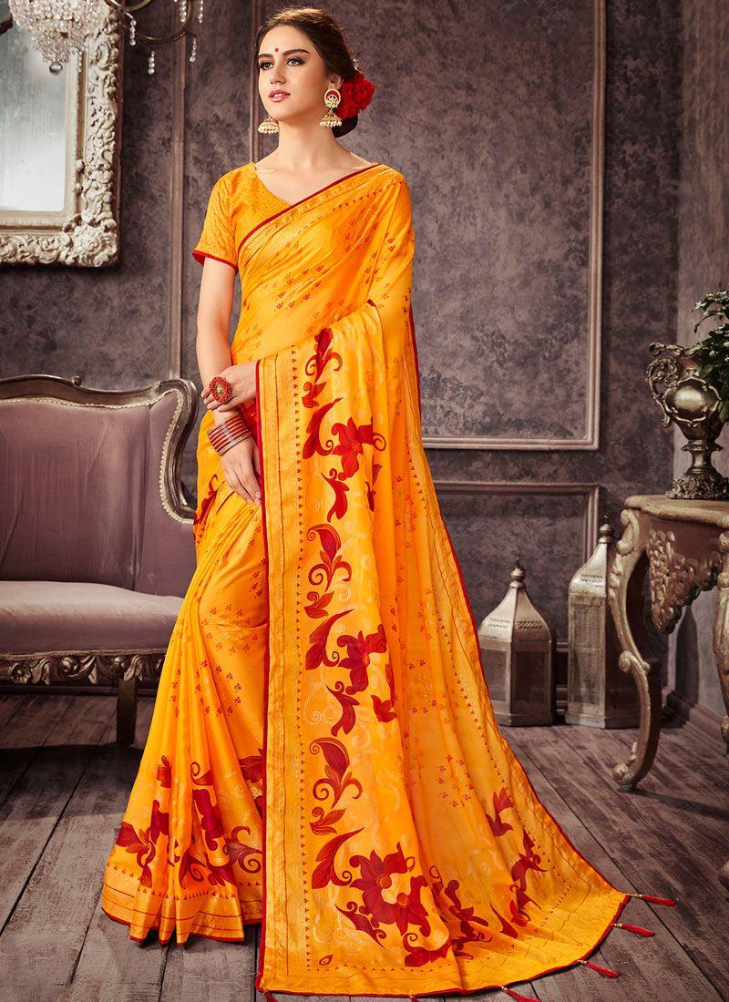 Printed Pure Chiffon Yellow Casual Saree
