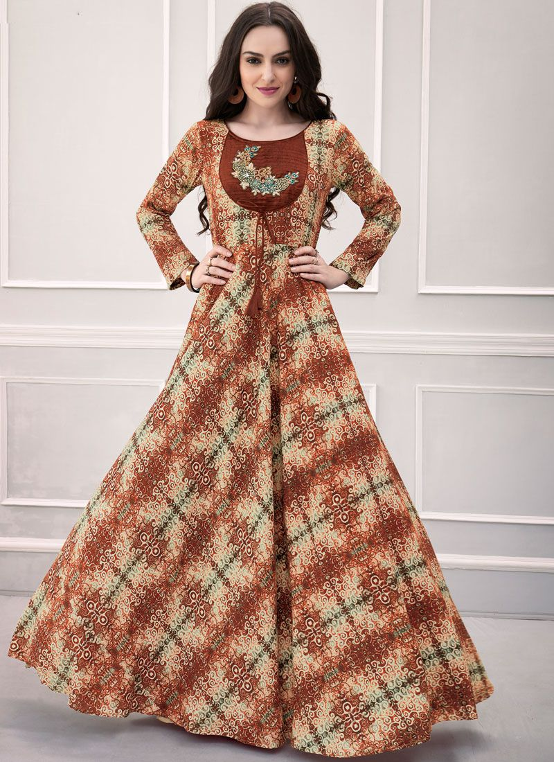 Printed Rayon Designer Gown